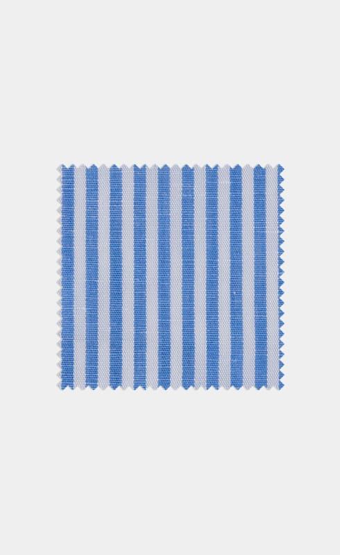 Mid Blue Stripe Cotton Linen