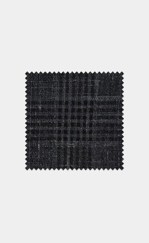 Mid Grey Check Wool Silk Linen