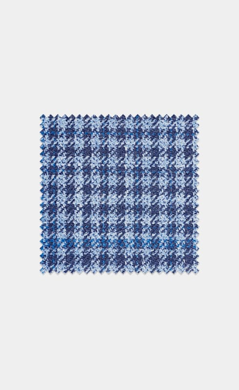 Lana, seda y lino azul intermedio a cuadros