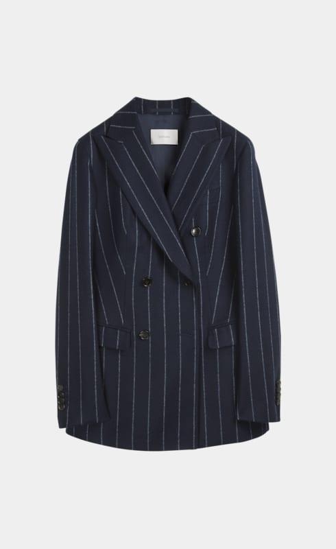 Cameron Navy Chalk Striped Jacket