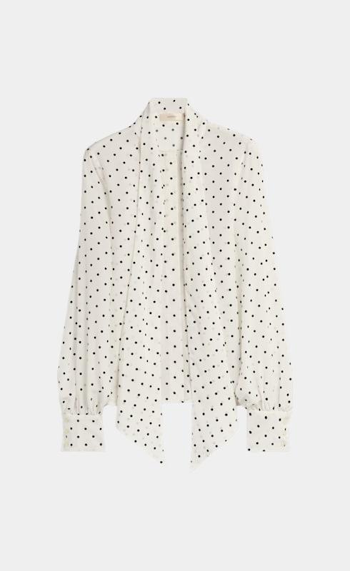 Eesa White & Black Dotted Silk Blouse