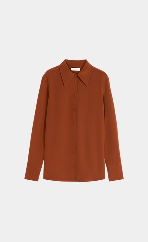 Alec Rust Plain Silk Blouse