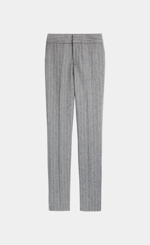 Lane Light Grey Striped Trousers