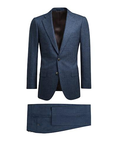 Mid Blue Bird's Eye Lazio Suit