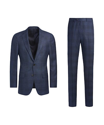 Mid Blue Check Sienna Suit