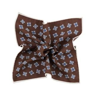 Brown Flower Pocket Square