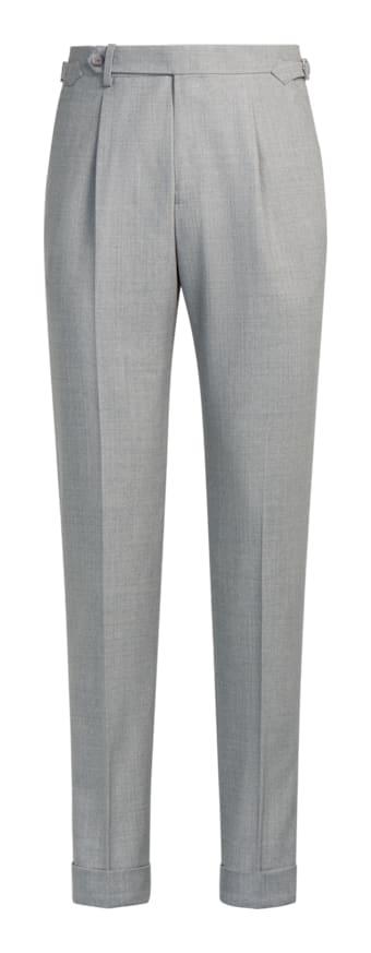 Light Grey Pleated Vigo Trousers