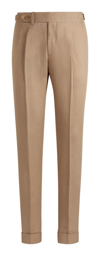 Mid Brown Pleated Brescia Trousers