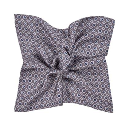 Grey Graphic Pocket Square