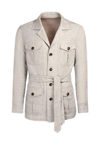 Light Brown Belted Safari Jacket