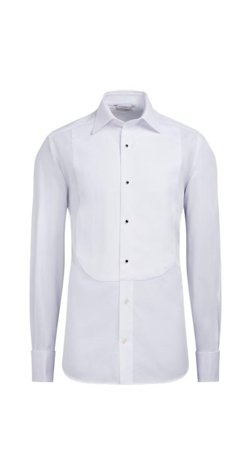Piqué-Smokinghemd weiß Slim Fit